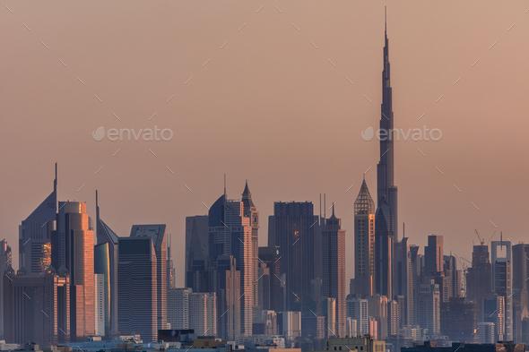 view of Dubai downtown with Burj Khalifa - Stock Photo - Images