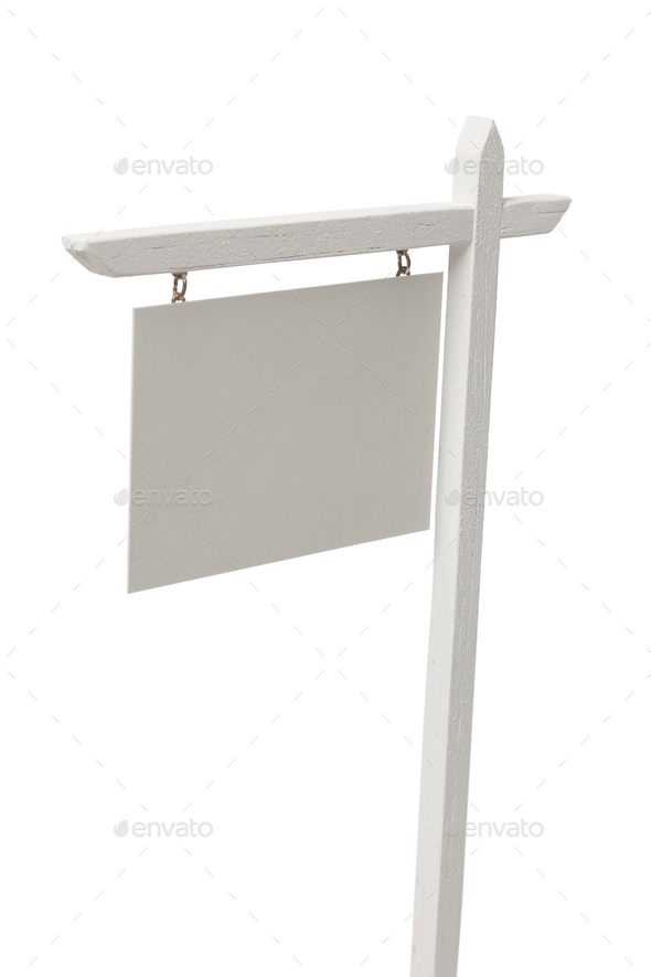 Blank Real Estate Sign on White with Clipping Path - Stock Photo - Images