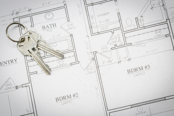 Set Of New House Keys Resting On House Plans - Stock Photo - Images