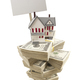 Small House on Stacks of Hundred Dollar Bills and Blank Sign - PhotoDune Item for Sale