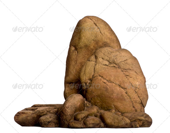 Fake stone for reptile in front of white background, studio shot - Stock Photo - Images