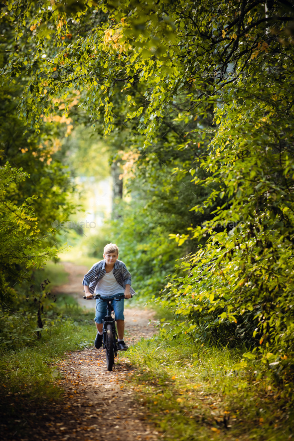 A young boy riding his bike in a summer forest - Stock Photo - Images