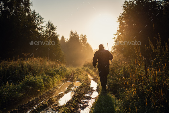 Vintage hunter walks the forest road. Rifle Hunter Silhouetted in Beautiful Sunset or Sunrise - Stock Photo - Images
