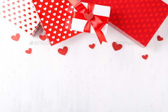 Red and white gift boxes - Stock Photo - Images