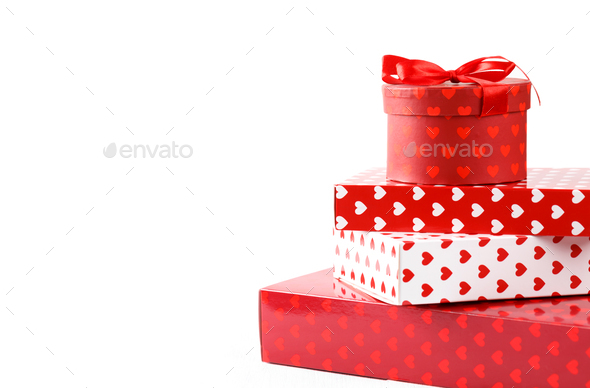 White and red gift boxes - Stock Photo - Images