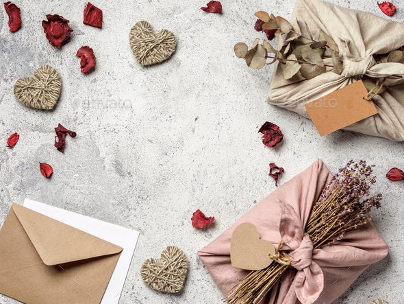 Zero waste Valentine's Day concept, copy space - Stock Photo - Images