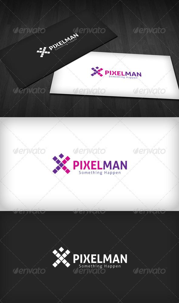 Pixel Man Logo - Letters Logo Templates