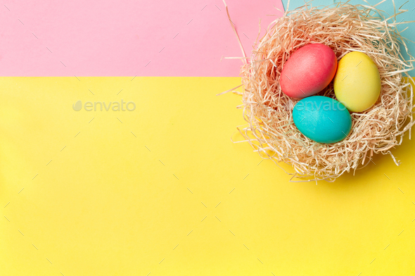 Easter concept, copy space, top view, minimal - Stock Photo - Images