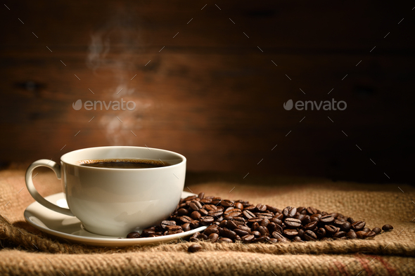 COFFEE CUP, COFFEE BEANS - Stock Photo - Images