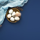 Easter Banner wirh Eggs and Napkin on Blue. - PhotoDune Item for Sale