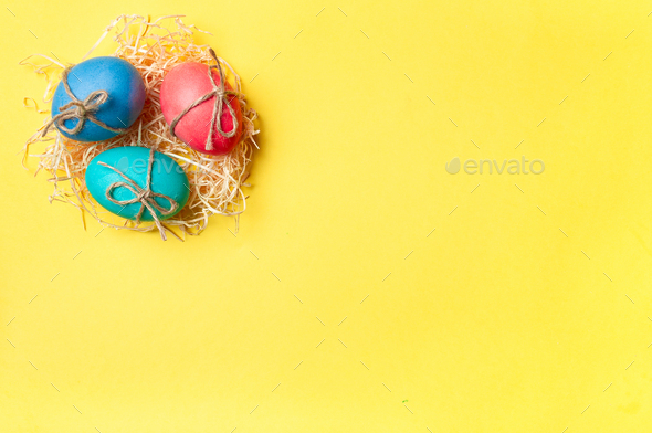 Easter concept, copy space, top view, yellow background - Stock Photo - Images