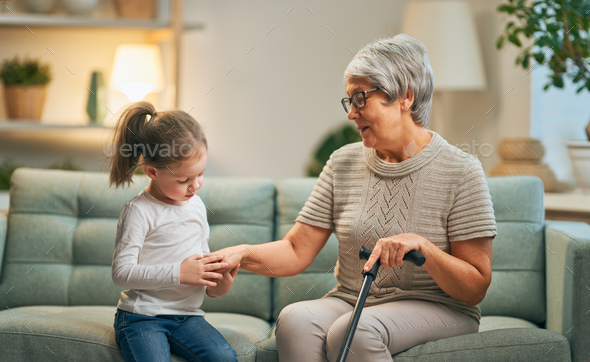 girl and her grandmother - Stock Photo - Images