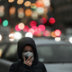 Air Pollution Concept - Young Person with Breathing Mask in the City - PhotoDune Item for Sale