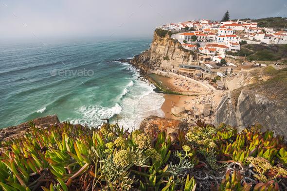 Sintra, Lisbon, Portugal. Azenhas do Mar white village landmark on the cliff and Atlantic ocean - Stock Photo - Images