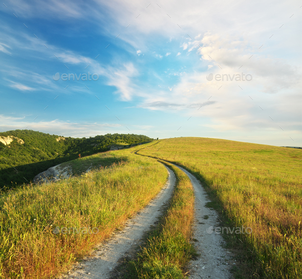 Road lane and blue sky. - Stock Photo - Images