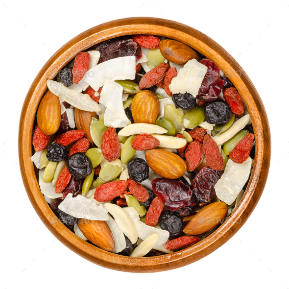 Superfood snacking mix in wooden bowl - Stock Photo - Images