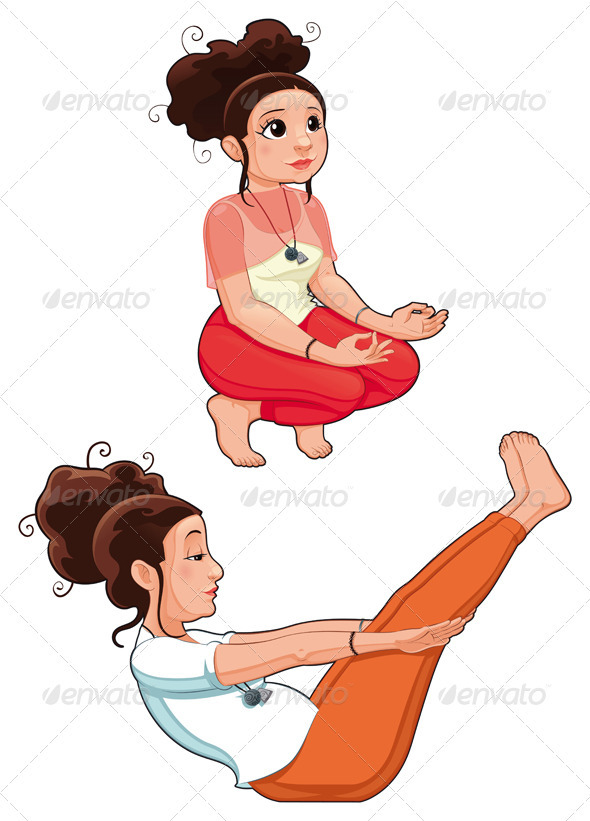 Yoga Positions - People Characters