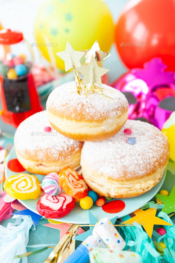 Delicious donuts and candy - Stock Photo - Images