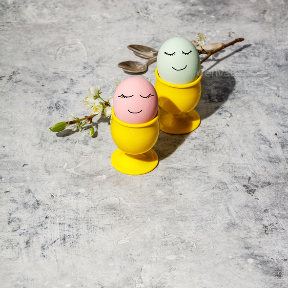 Easter composition on grey concrete backgrount - Stock Photo - Images