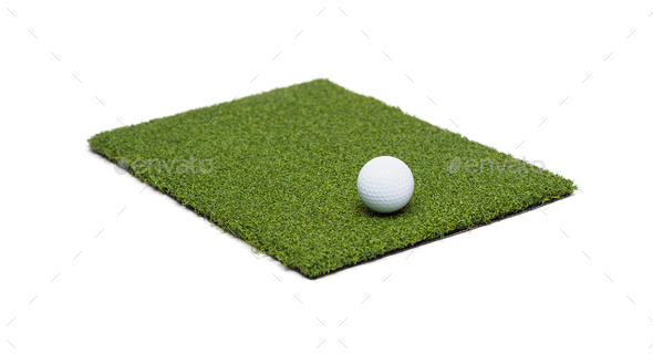 Golf Ball Resting on Section of Artificial Turf Grass On White Background - Stock Photo - Images