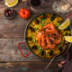 Large pan of paella with seafood and vegetables, copy space - PhotoDune Item for Sale