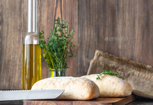 Ciabatta with olive oil - Stock Photo - Images