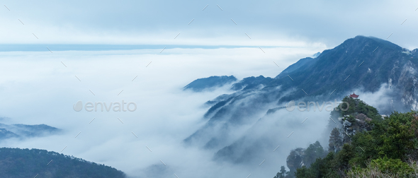 misty mountains panorama - Stock Photo - Images