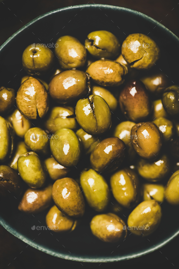 Flat-lay of fresh harvested pickled Mediterranean olives, close-up - Stock Photo - Images