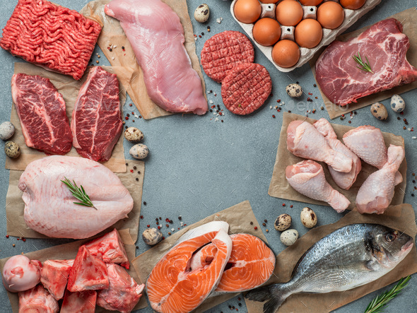 Carnivore diet, zero carb concept, top view - Stock Photo - Images