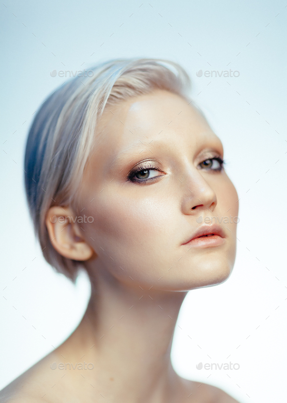 beauty portrait of young caucasian blonde woman - Stock Photo - Images