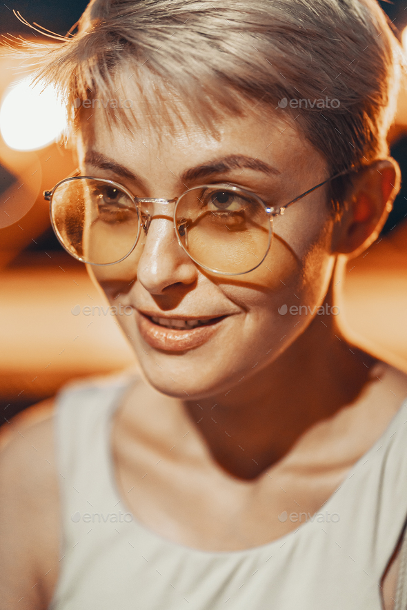 Attractive hipster girl in eyewear - Stock Photo - Images