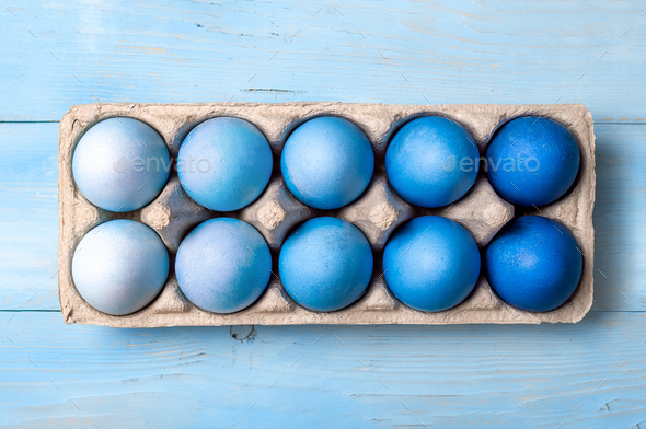 Blue ombre eggs as Easter 2020 concept - Stock Photo - Images