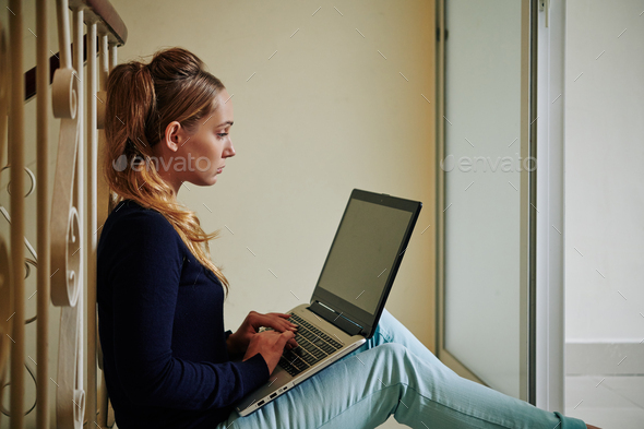 Beautiful Girl With Laptop - Stock Photo - Images