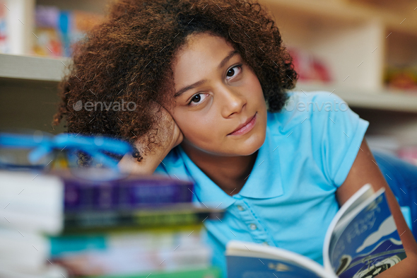 Beautiful Girl In Library Portrait - Stock Photo - Images