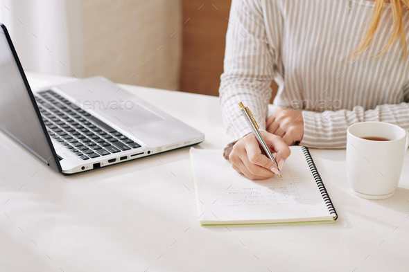 Unrecognizable Woman Working At Home - Stock Photo - Images
