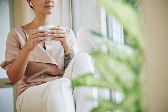 Caucasian Woman Relaxing At Home - Stock Photo - Images