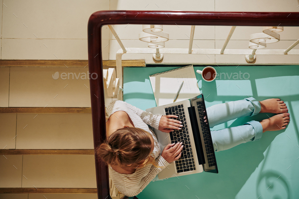 Woman With Laptop On Staircase - Stock Photo - Images