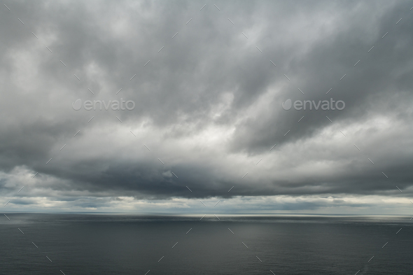 Atlantic ocean water and drammatic cloudy sky - Stock Photo - Images