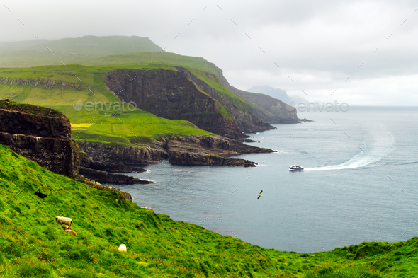 Summer view of Mykines island - Stock Photo - Images