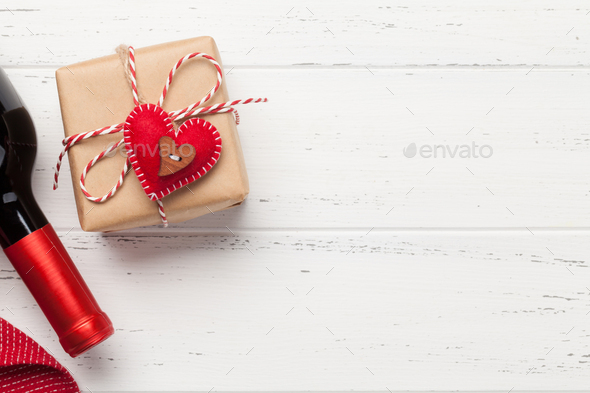 Valentines day gift box and wine - Stock Photo - Images