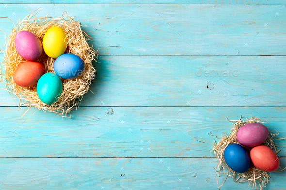 Easter concept, copy space, top view, blue wood - Stock Photo - Images