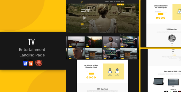 Tv-Entertainment Responsive Landing Page by iwthemes