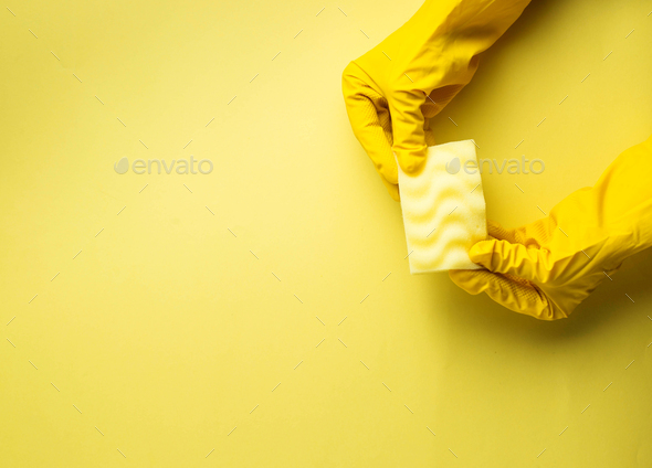Kitchen sponges and rubber gloves - Stock Photo - Images
