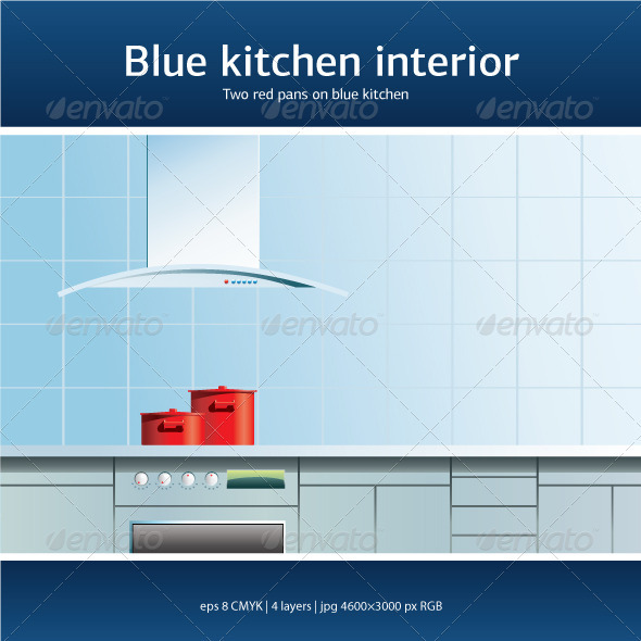 Blue kitchen interior - Buildings Objects