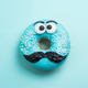 Blue glazed donut with mustache flying - PhotoDune Item for Sale
