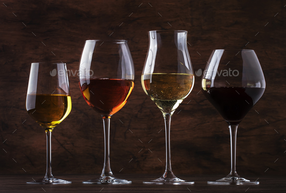 Wine tasting concept, still and sparkling wines - Stock Photo - Images