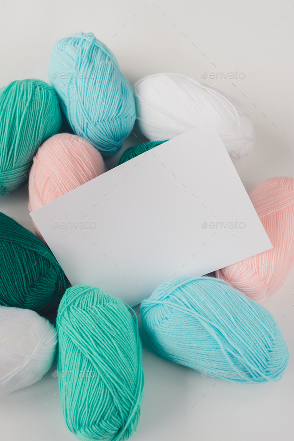 acrylic pastel colored wool yarn thread skeins - Stock Photo - Images
