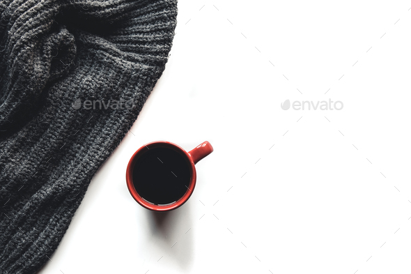 Autumn composition. Cup of coffee, sweater on white background. Autumn - Stock Photo - Images