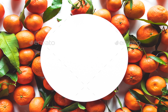 tangerines with place for text on a white background - Stock Photo - Images
