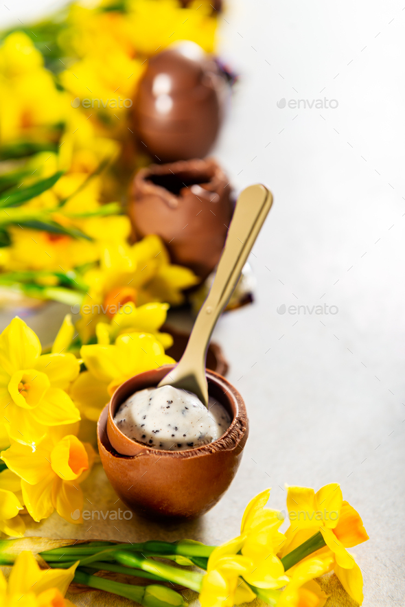 Easter composition from chocolate eggs - Stock Photo - Images